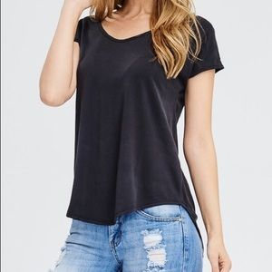 Tops - Black High Low Cap Sleeve Cut Out V-Back Tee
